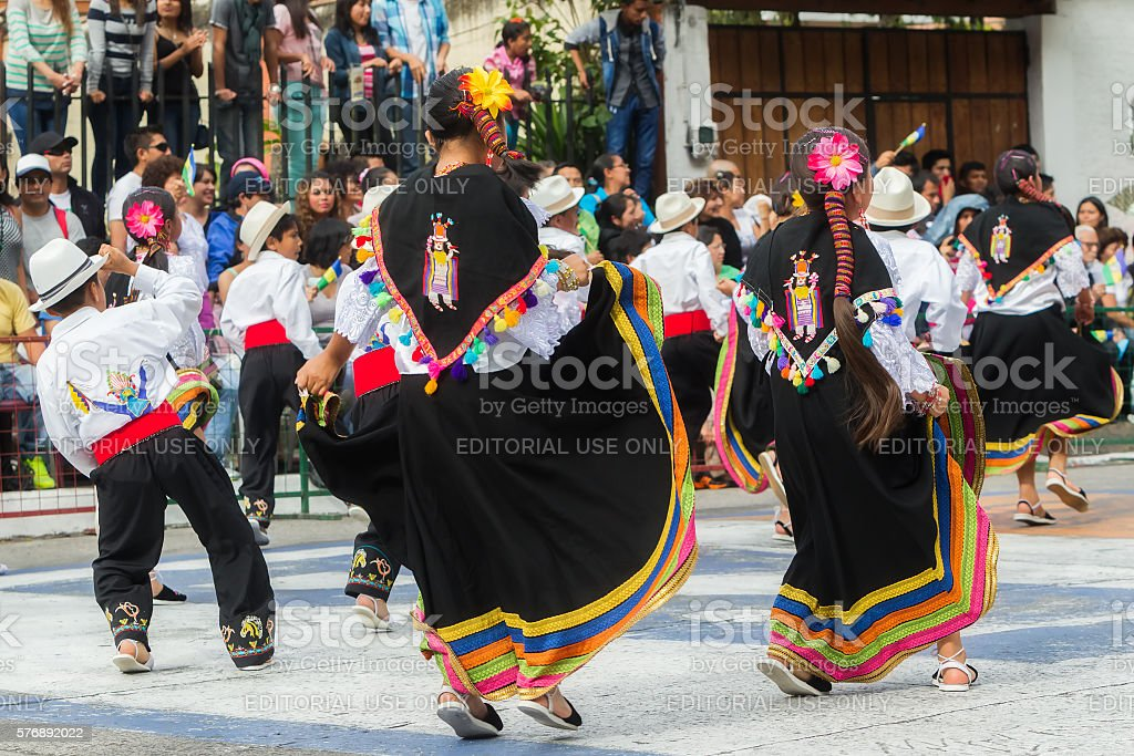 Unidentified Indigenous Kids Celebrating stock photo