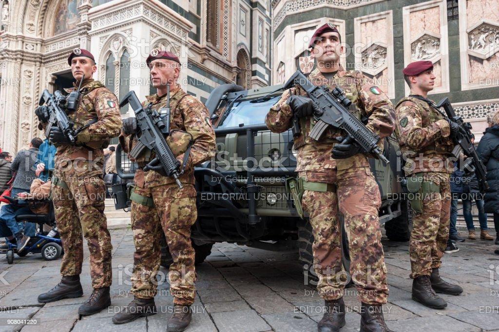 Unidentified Italian Soldiers Stand Guard At Santa Maria Del