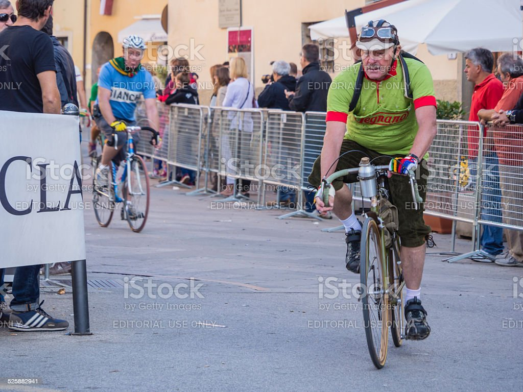Unidentified partipants of L'Eroica, Italy stock photo