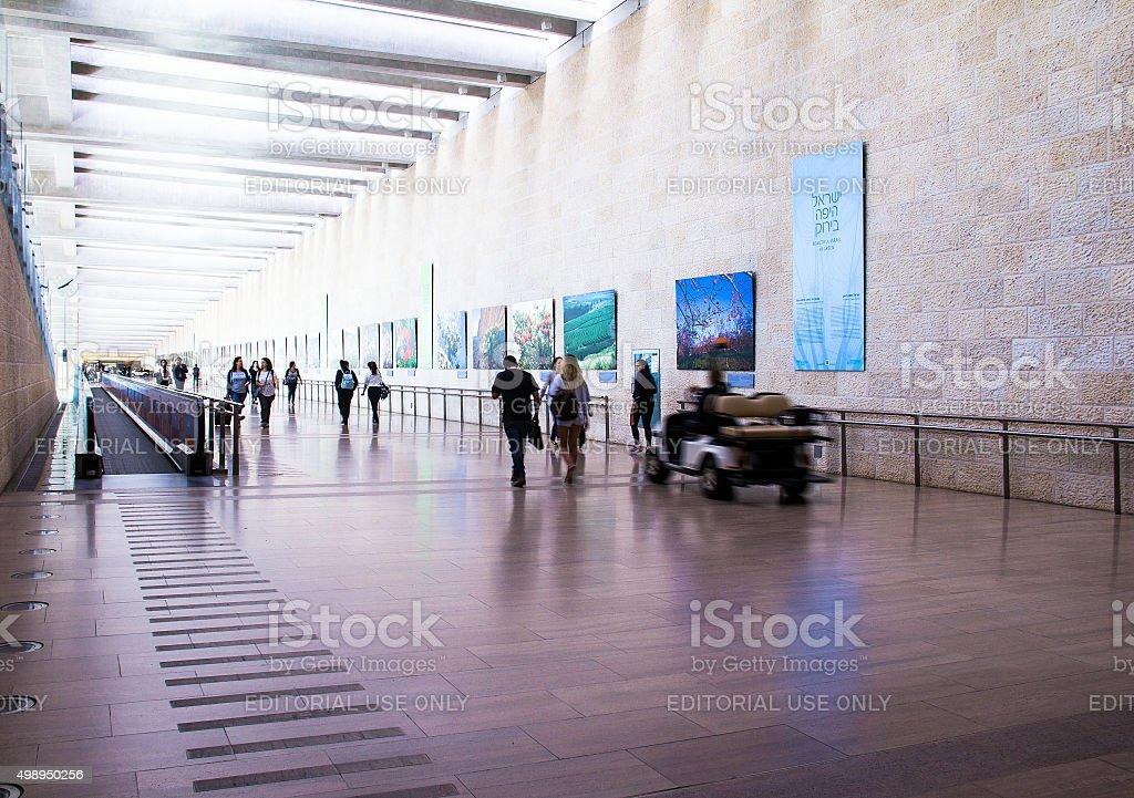 Unidentified passengers at Ben Gurion International Airport. Tel Aviv. Israel stock photo