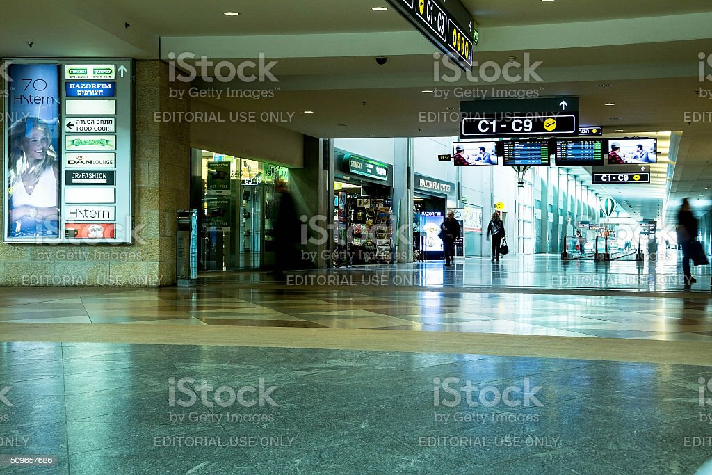 Unidentified passengers in Ben Gurion Airport stock photo
