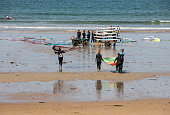 St Malo, Brittany, France - September 15, 2018: Unidentified people at the school of windsurf in Saint Malo, Brittany, France