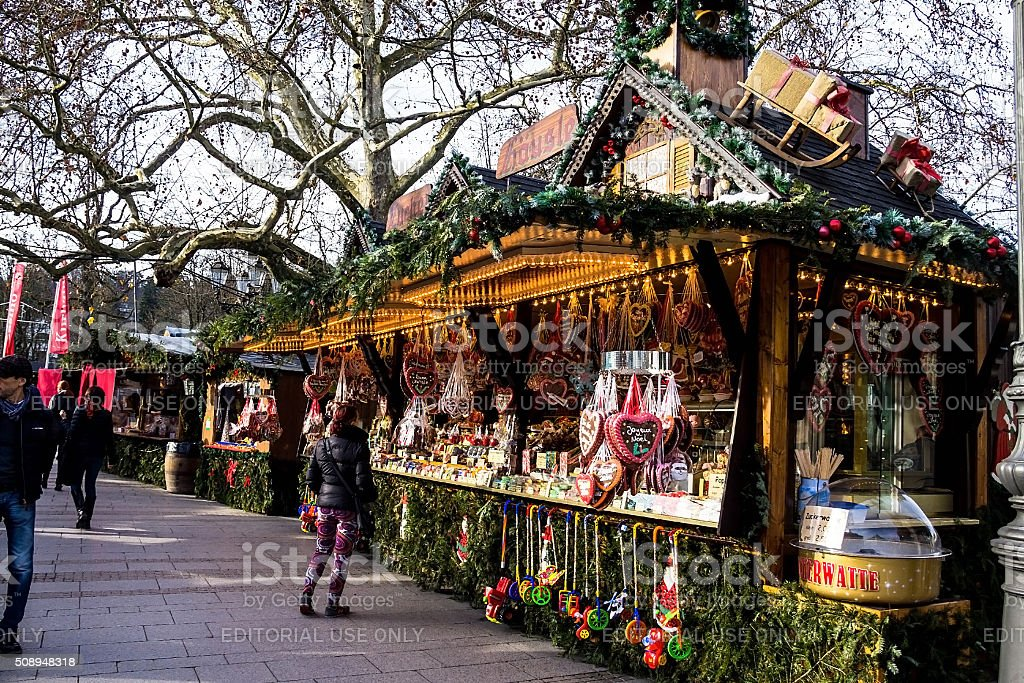 Unidentified people on Christmas market in  Baden-Baden, Germany stock photo