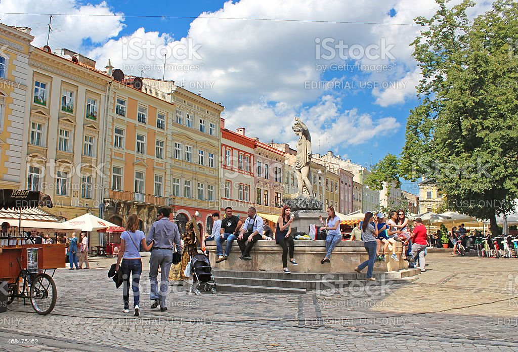 Unidentified people on Market square in Lviv, Ukraine stock photo