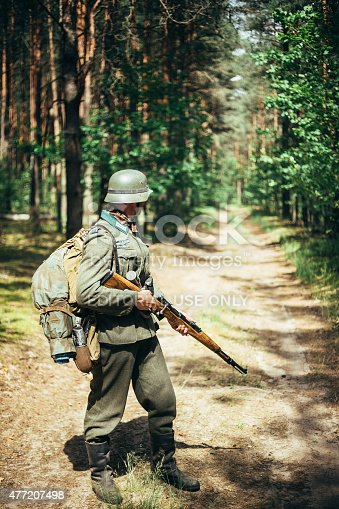 istock Unidentified re-enactor dressed as German soldier during march t 477207498