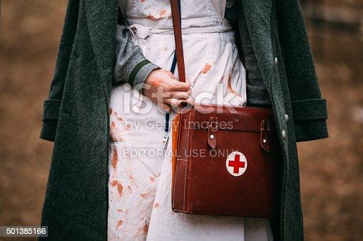 Pribor, Belarus - April 5, 2015: Unidentified re-enactor wears historical German Red Cross (Deutsches Rotes Kreuz - DRK) uniform