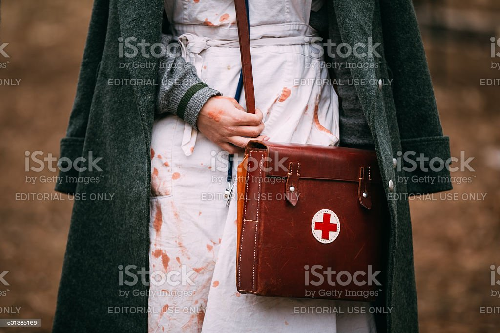 Unidentified re-enactor wears historical German Red Cross (DRK) stock photo