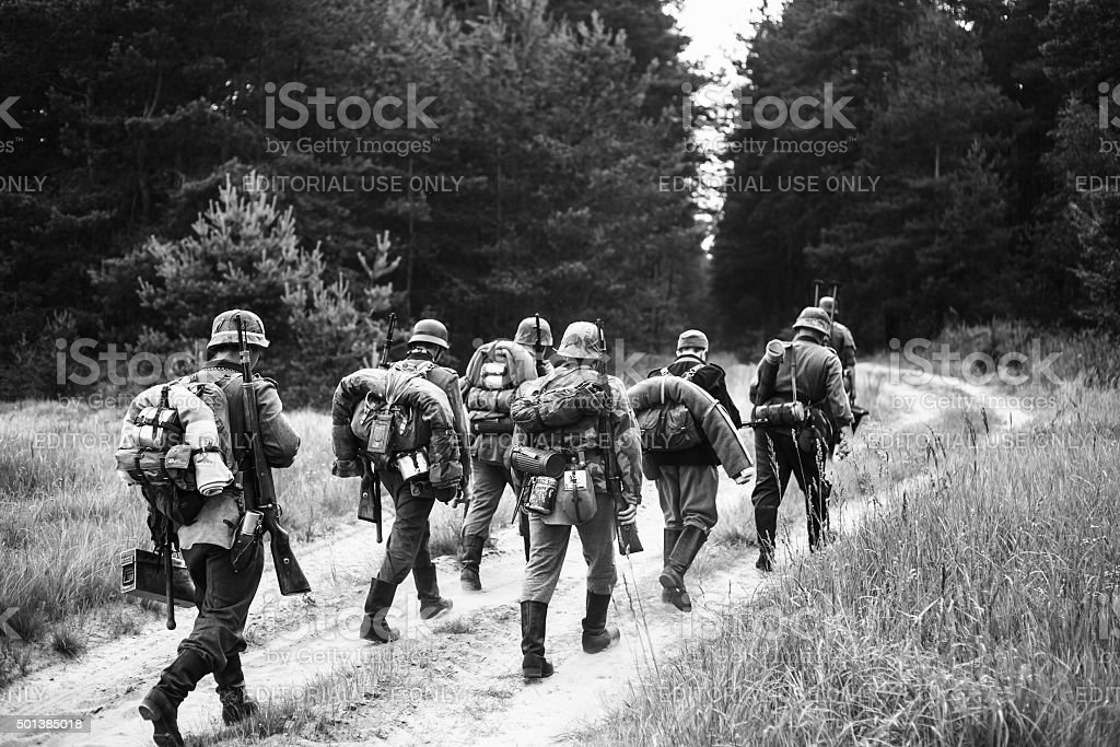 Unidentified re-enactors dressed as World War II German soldiers stock photo