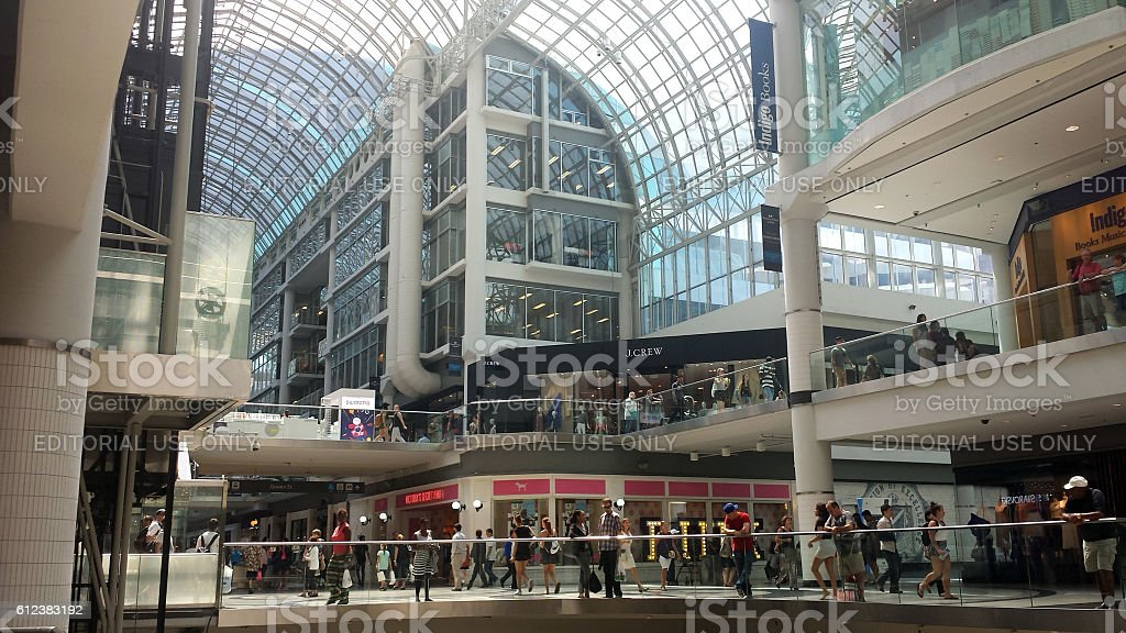 Unidentified shoppers in the Eaton Centre Mall (Toronto) stock photo
