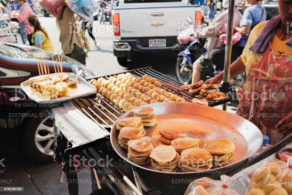 Unidentified Thai food vendor on the busy street stock photo
