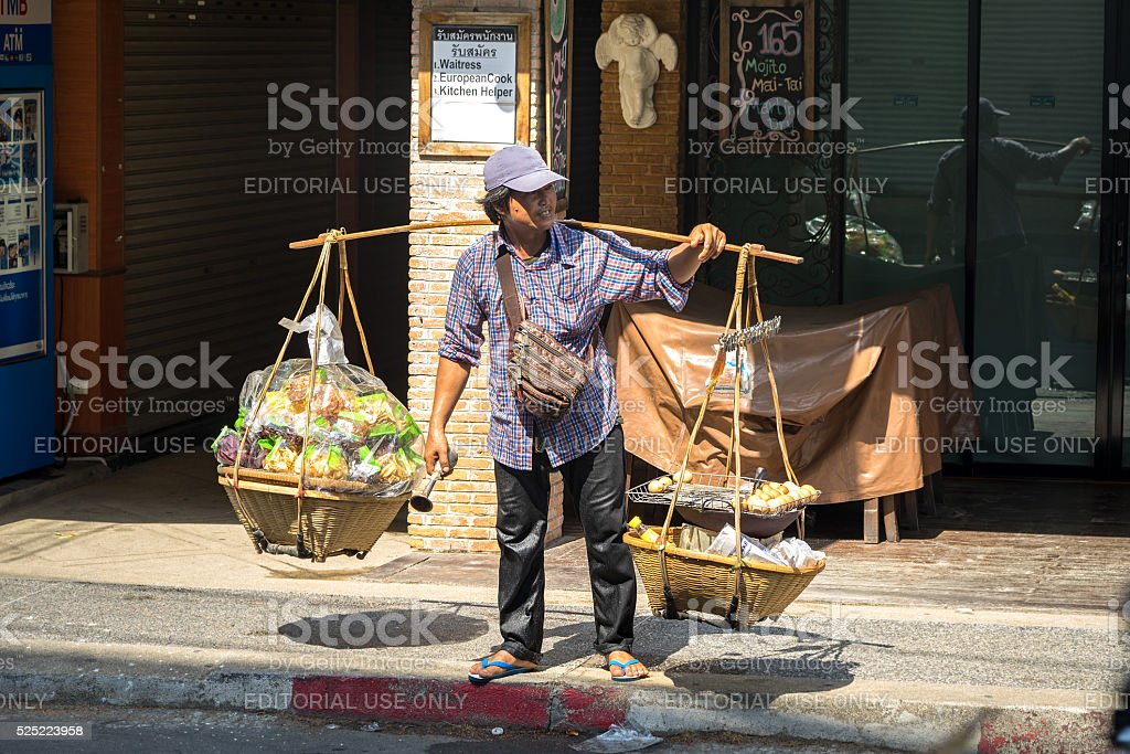 Unidentified thai hawker food vendor stock photo