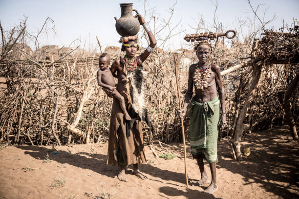 unidentified women from deesenach tribe, omo valley, ethiopia - horn of africa stock photos and pictures