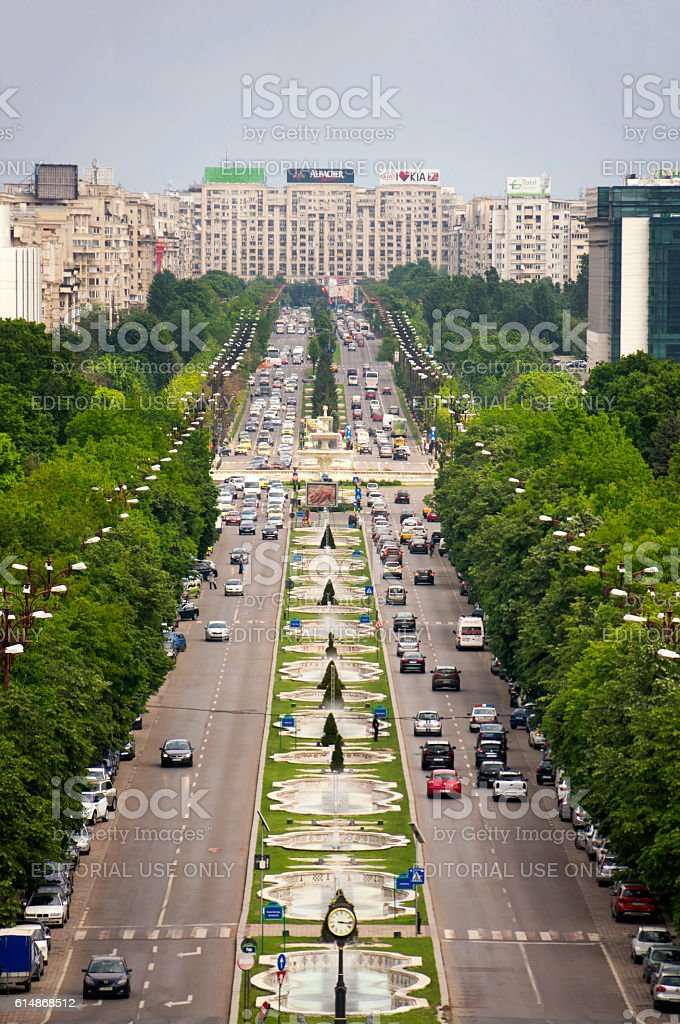 Unification Boulevard seen from the Palace of the Parliament stock photo