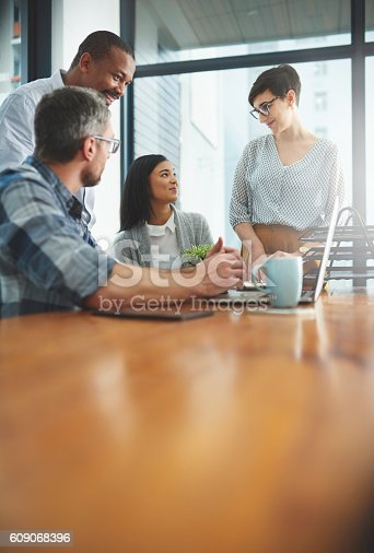 609072850 istock photo Unified as a team is how they work best 609068396