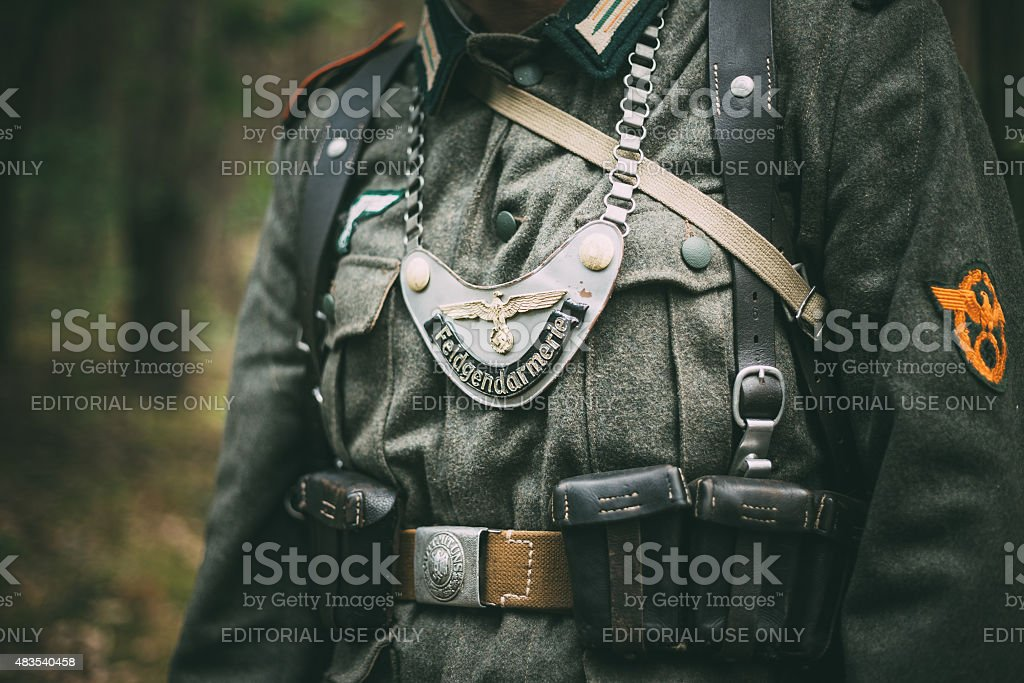 Uniform of a Feldgendarm during World War II stock photo