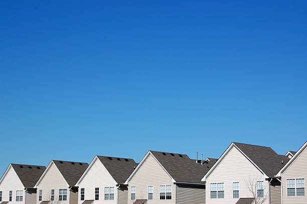 uniformity in housing - terraced houses stock photos and pictures