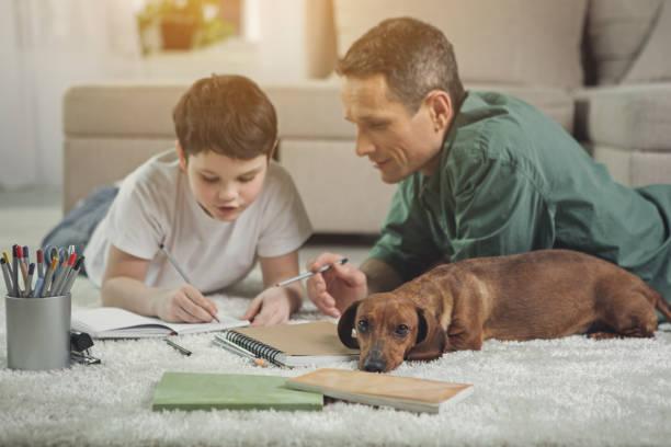 desinteressado cão deitado perto de filho e pai ocupado - cachorro desenho - fotografias e filmes do acervo