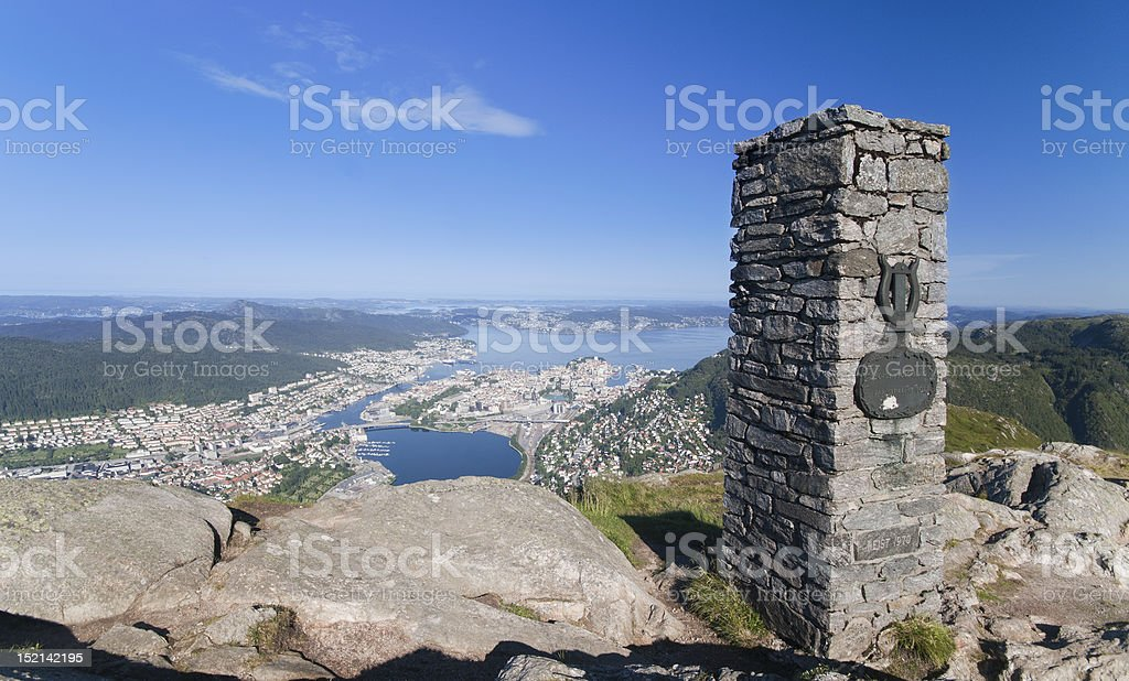 uninterrupted panoramic views of Bergen  the sea, fjords stock photo