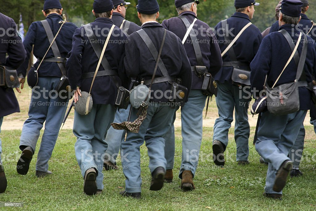 Union Army running In Formation: US Civil War royalty-free stock photo