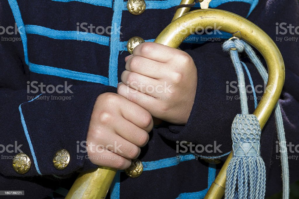 Union Boy Soldier Holding His Bugle royalty-free stock photo