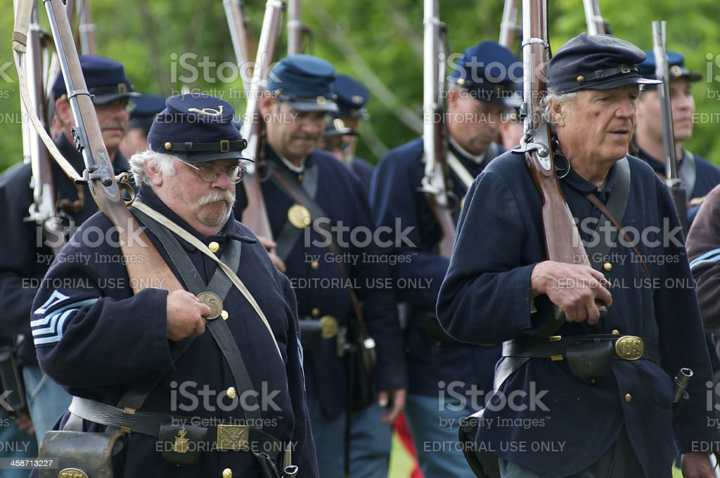 Union Civil War Renactors March to the Battle royalty-free stock photo