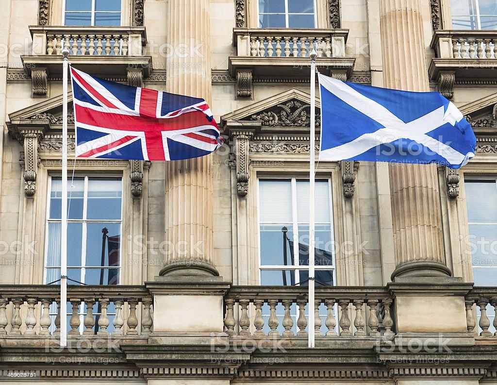 Union Flag and Scottish Saltire in Edinburgh stock photo