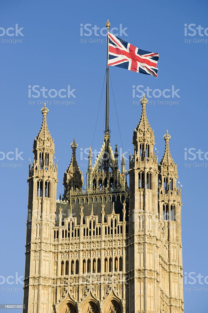 Union Flag on the Victoria Tower  Palace of Westminster stock photo