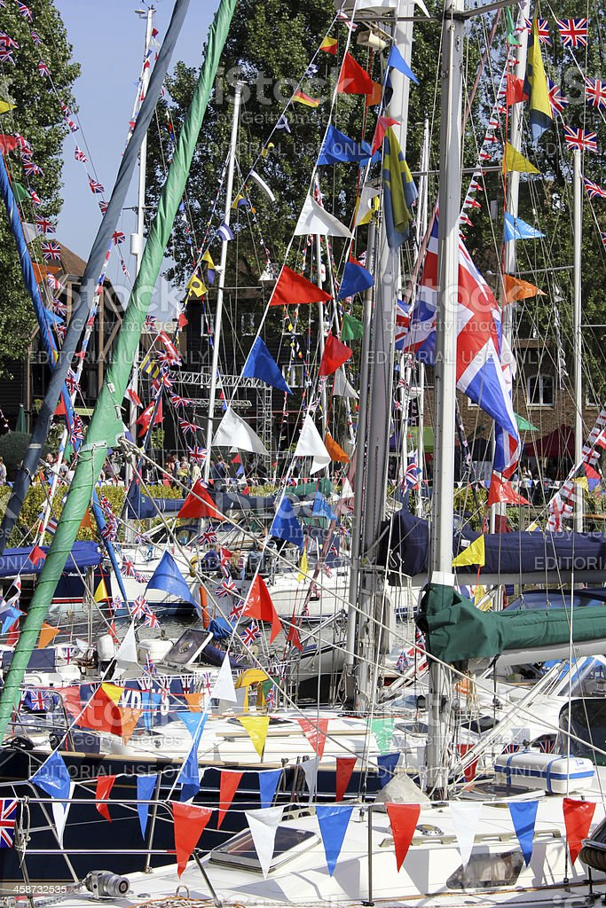 Union Flags and bunting: St Katharine Docks, London stock photo