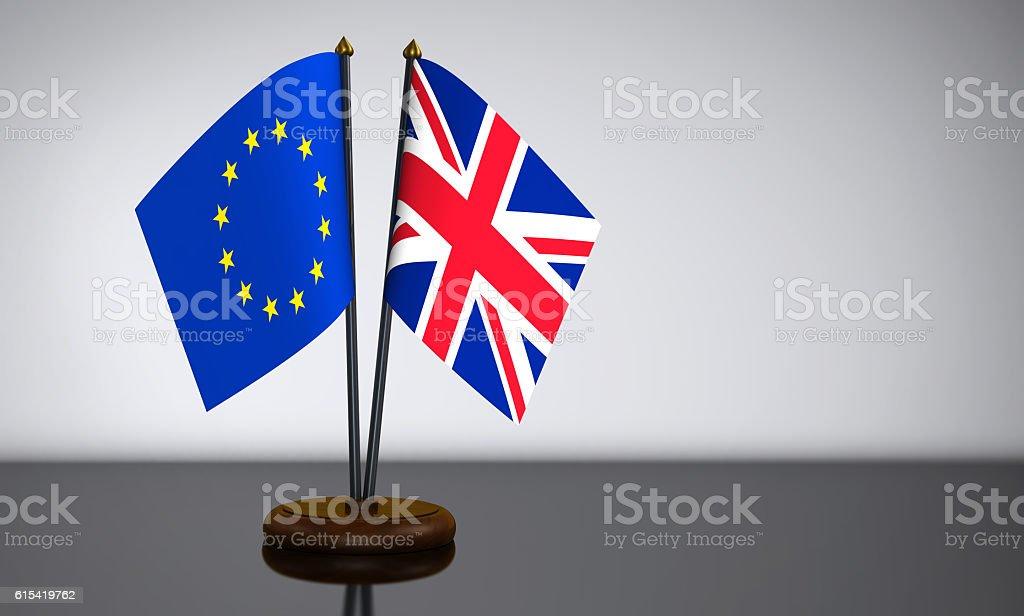 Union Jack And European Union Desk Flags stock photo