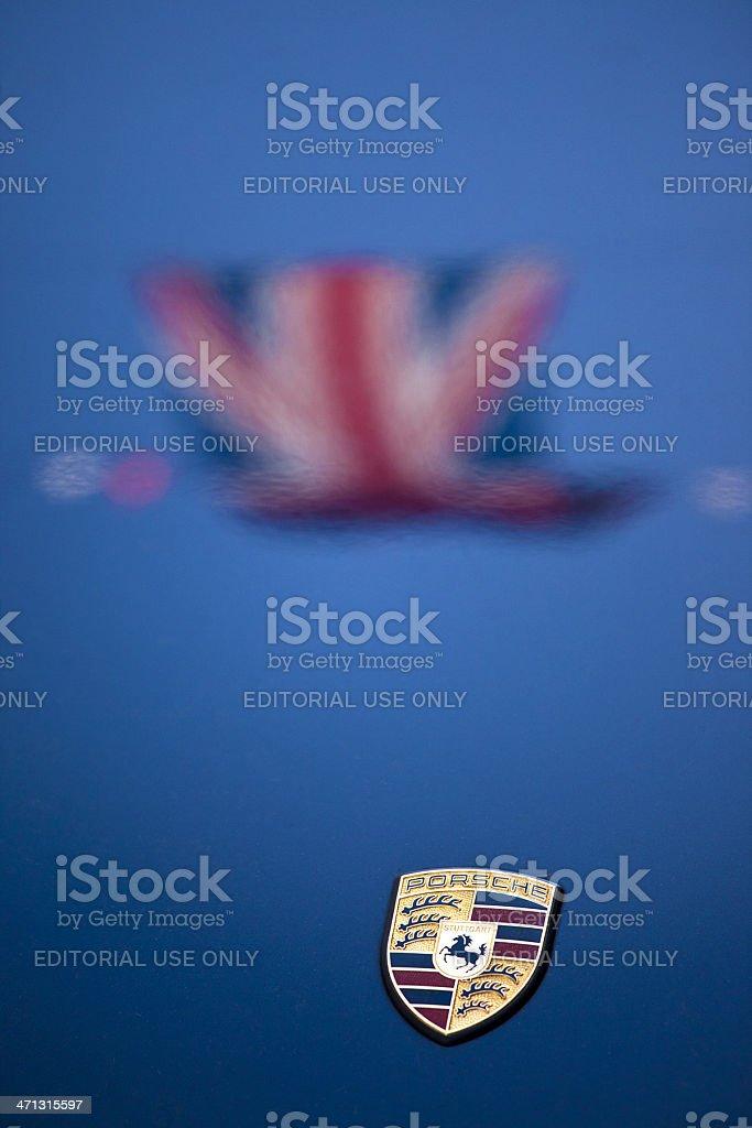 union jack and porsche logo stock photo