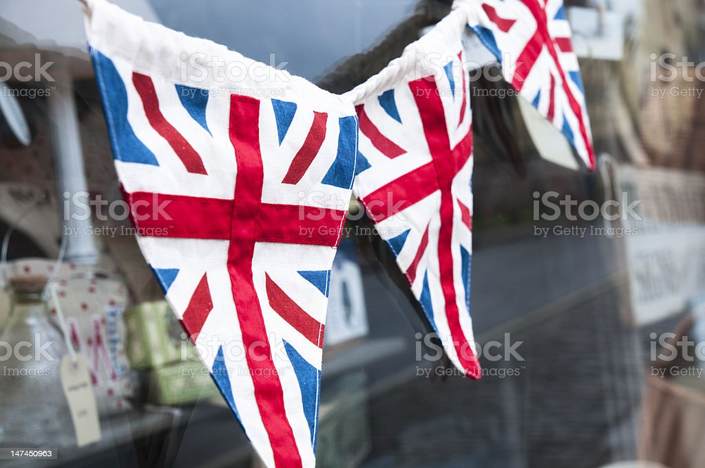 Union jack bunting for Queen's jubilee royalty-free stock photo