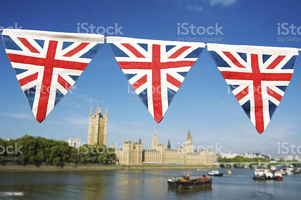 Union Jack Bunting Hangs Over London Skyline Westminster stock photo