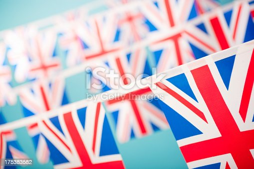 Union Jack bunting. Shallow depth of field, focus on the bottom right corner flag.