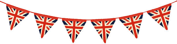 Union Jack Bunting Six Triangular Flags stock photo