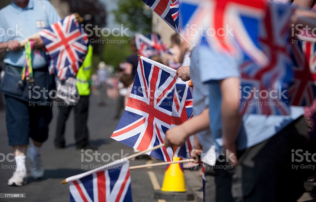Union Jack Crowd royalty-free stock photo