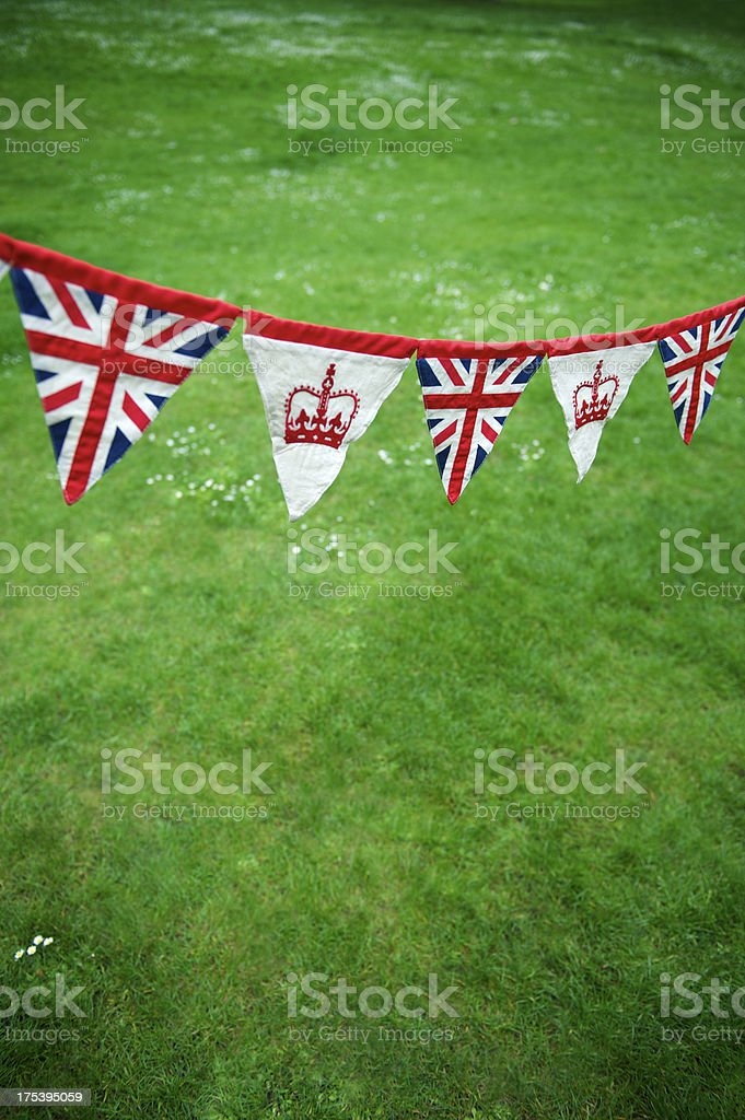 Union Jack Crown Bunting Green Grass Celebrating Royal Baby royalty-free stock photo