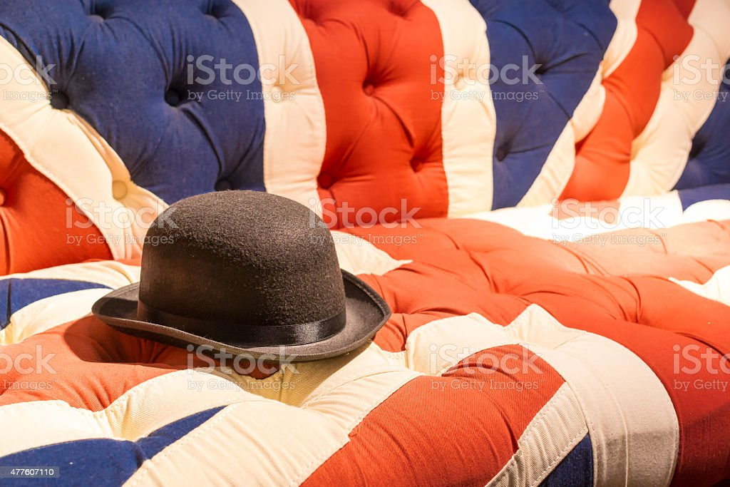 Union Jack Flag English Sofa and Bowler Hat stock photo