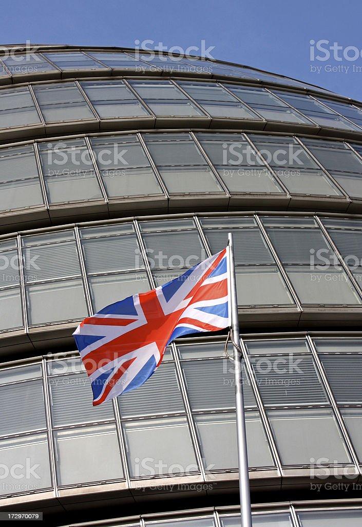Union Jack flag outside London City Hall royalty-free stock photo