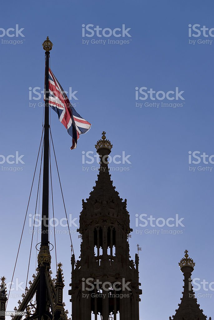Union Jack flag, Parliament, London royalty-free stock photo