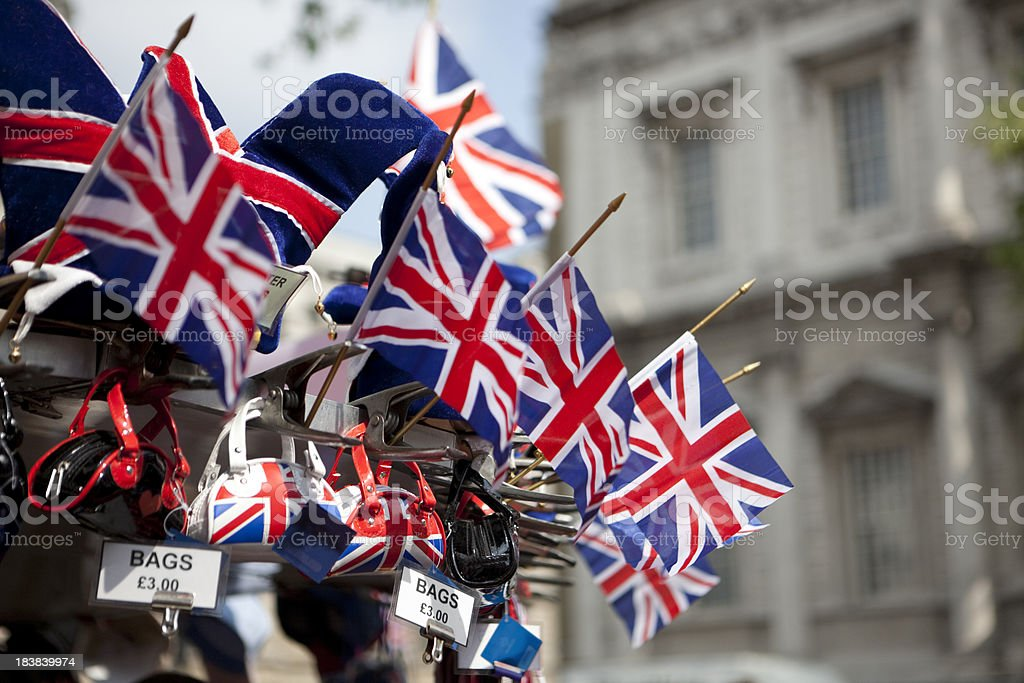 Union Jack Flags and bags on Sale royalty-free stock photo