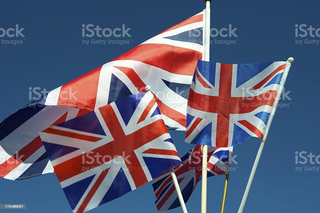 Union Jack Flags onda azul céu Horizontal - foto de acervo