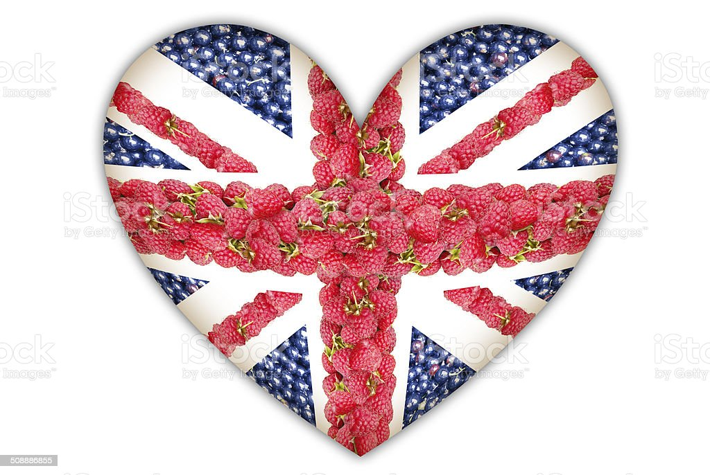 Union Jack in the form of hearts from the berries. stock photo