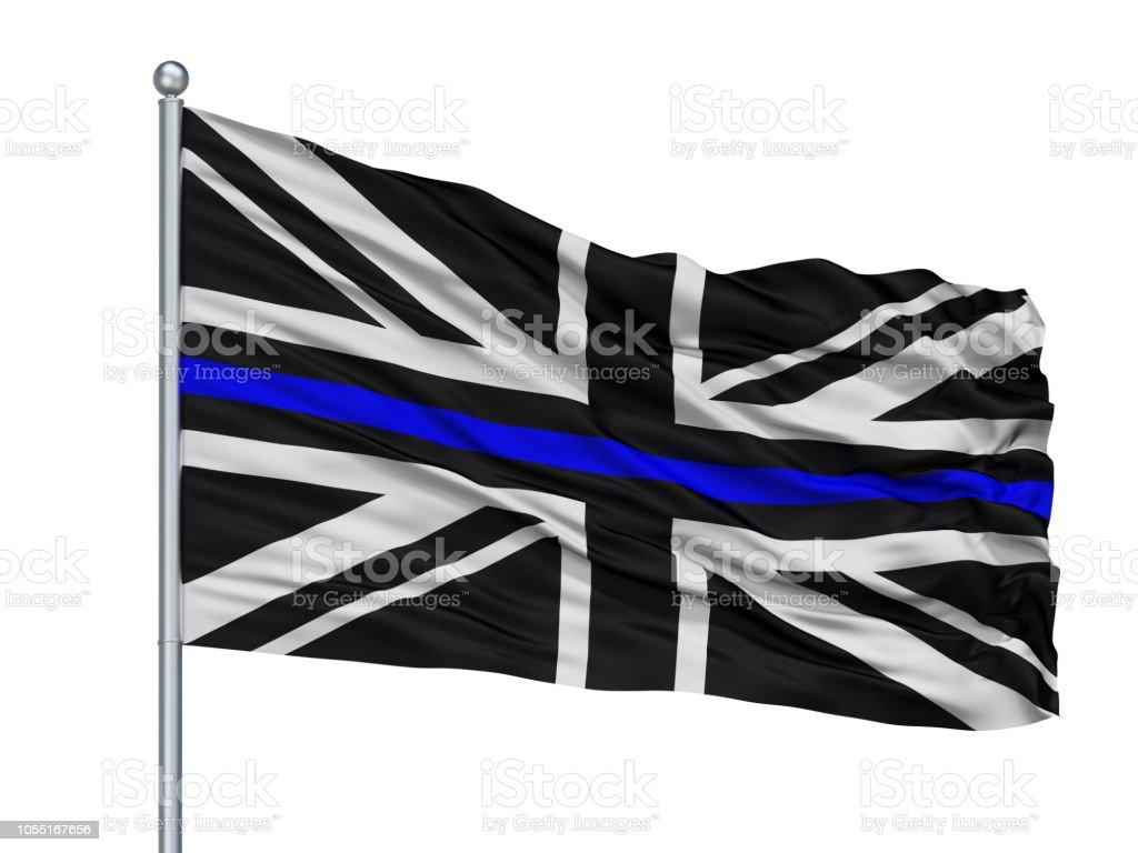 Union Jack Thin Blue Line Flag On Flagpole, Isolated On White stock photo