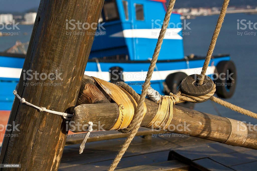 Union of mast and boom stock photo