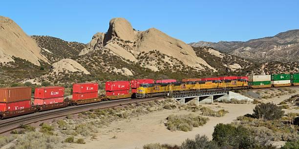 Union Pacific Locomotives No. 8744 on way down Cajon Pass stock photo