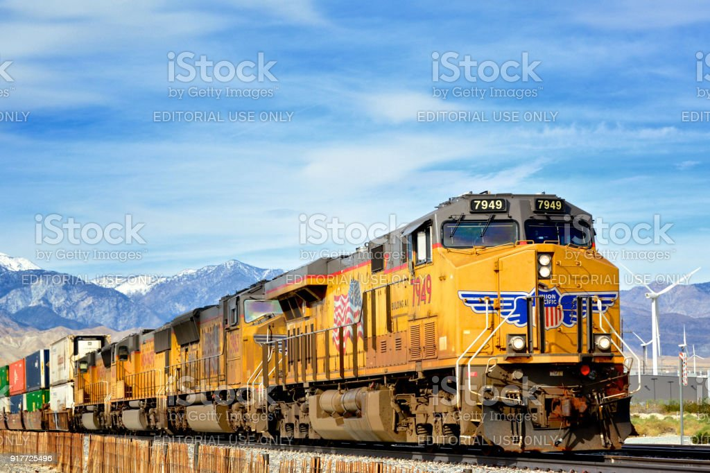 Union Pacific Railroad Locomotive pulling Freight train -Palm Springs, California stock photo