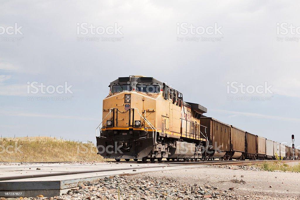 Union Pacific Railroad train approaching stock photo