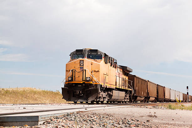 union pacific railroad train approaching - godståg bildbanksfoton och bilder