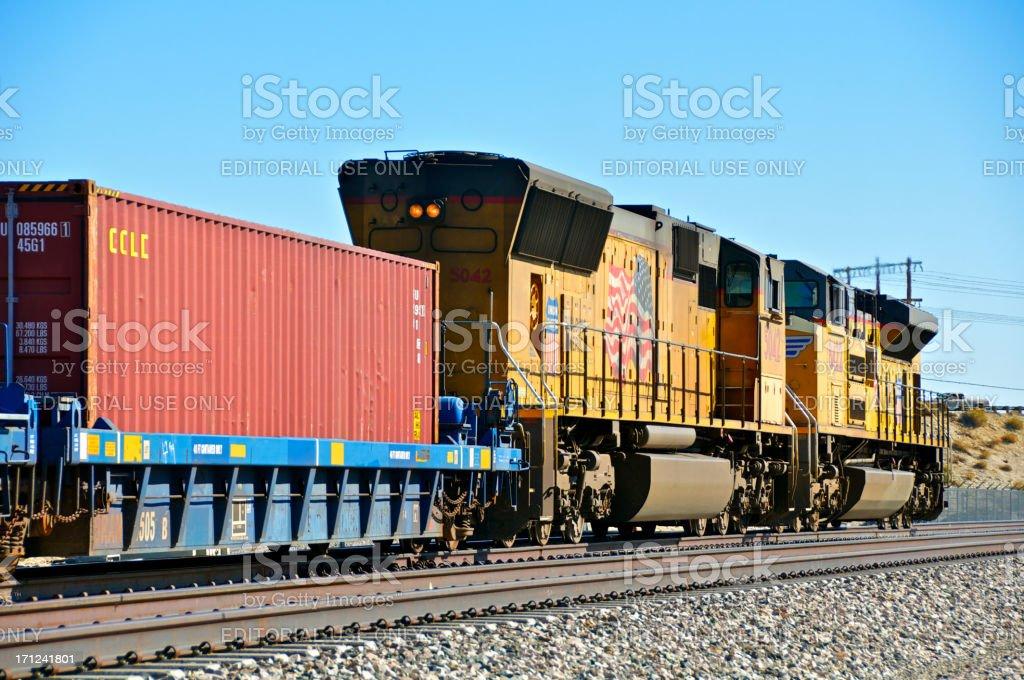 Union Pacific Railroad train locomotives, Palm Springs, California royalty-free stock photo