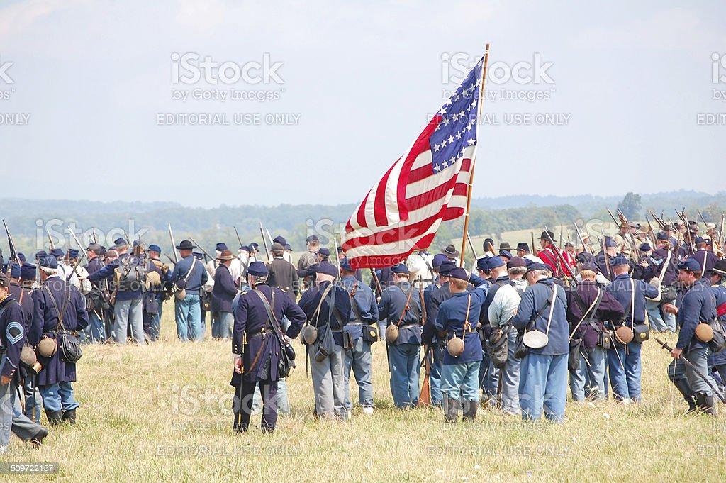 Union soldiers reenactment stock photo